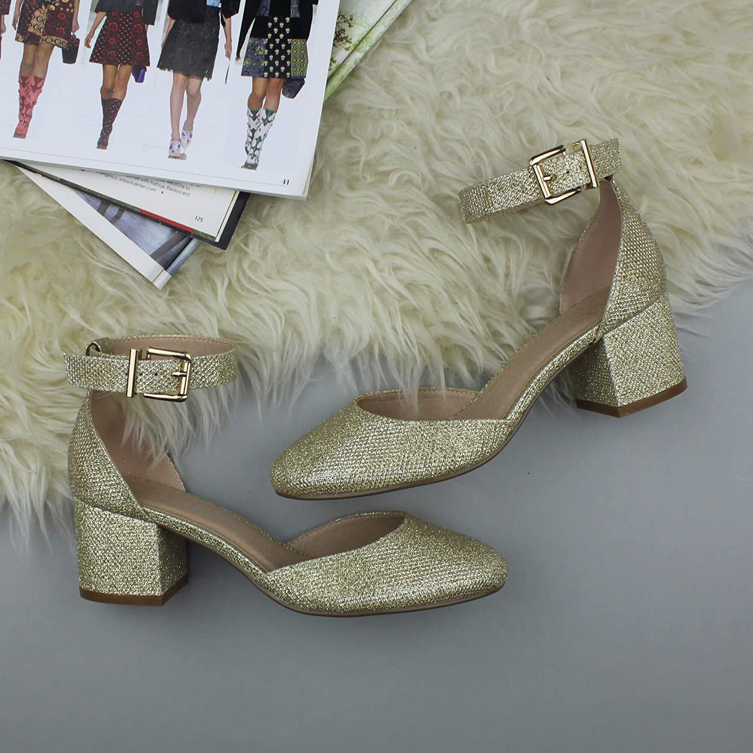 Womens Ladies Low mid Block Heel Ankle Strap Mary Jane Court Shoes Sandals Size