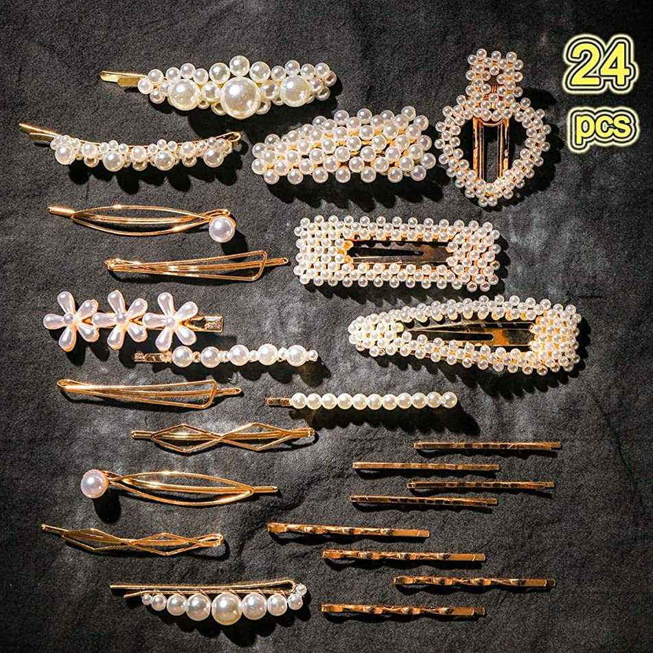 24 pcs Pearls Hair Clips for Women Girls - Handmade Artificial Pearl Hair Pins Barrettes Decorative Hair Accessories for Party Wedding Daily Wearing with 1 Gift Bag