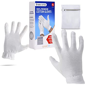 Extra Large, XL Moisturizing Gloves OverNight Bedtime Cotton Cosmetic Inspection Premium Cloth Quality Eczema Dry Sensitive Irritated Skin Spa Therapy Secure Wristband