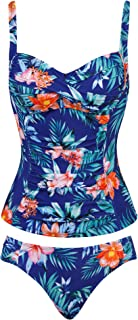Joyaria Womens 2 Piece Swimsuit Tummy Control Ruched Tankini Top with Hipster Bikini Bottoms(Size 6-16)