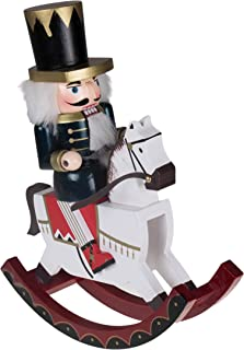 """Clever Creations Soldier Nutcracker Rocking Horse Collectible Wooden Christmas Nutcracker 