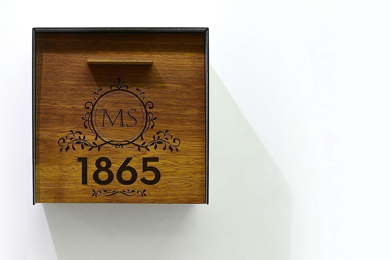 Modern Mailbox Max 49% OFF Solid Iroko Wood Aluminum Face Gray Metallic Seasonal Wrap Introduction Bo