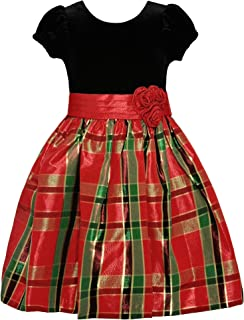 Short Sleeve Christmas Dress with Black Velvet and Red Tartan Plaid
