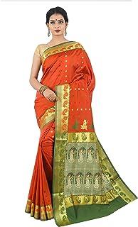 Misal Sarees Women's Handloom Baluchari Silk Saree Bengal Origin with Blouse Piece (MS1650; Orange-Green)