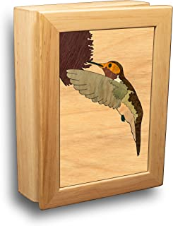 MarqART Hummingbird Wood Art Gift Trinket Box & Jewelry Boxes - Handmade USA - Unmatched Quality - Unique, No Two are The Same - Original Work of Wood Art (#4504 Hummingbird 4x5x1.5)
