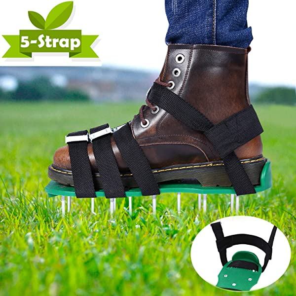 Ohuhu Lawn Aerator Shoes Free Installation Heavy Duty Spiked Sandals 4 X Adjustable Aluminium Alloy Buckles 1 X Heal Elastic Band Unique Design Airators For Aerating Your Lawn Or Yard
