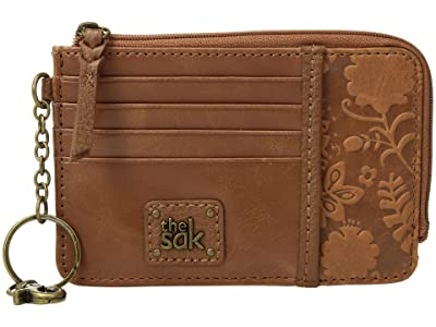 The Sak Iris Card Wallet (Tobacco Floral Embossed) Wallet Handbags