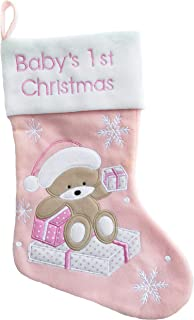 Baby's First Christmas Stockings Bear | My First Christmas Baby Boy and Baby Girl | Newborn Stockings Christmas Ornaments | Newborn Christmas Decor, Pink