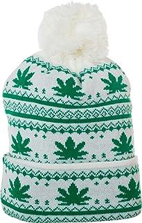 Pot Leaf Winter Knit Pom Pom Marijuana Weed Beanie Hat with Cuff