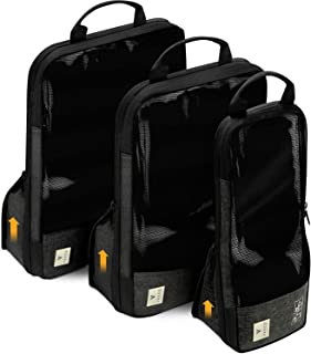 VASCO Compression Packing Cubes for Travel ? Premium Set of 3 Luggage Organizer Bags 3 Set Black with Dirty Compartment