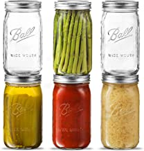 Ball Wide Mouth Mason Jar 32 oz [6 Pack] Wide Mouth Mason Jars With Airtight lids and Bands - For Canning, Fermenting, Pic...