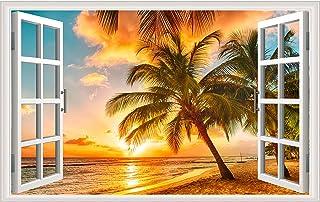 Sunset Seascape Fake Windows Wall Sticker Removable 3D Beach Seascape Faux Windows Wall Sticker Vinyl Self-Adhesive Beach ...
