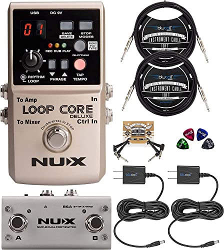 wholesale NUX Loop Core Deluxe Looper Pedal Bundle with NUX NMP-2 Dual Footswitch, Blucoil 2-Pack sale of 9V AC Adapter, 2-Pack of 10-FT Straight Instrument Cables (1/4in), 2x popular Patch Cables, and 4x Guitar Picks online