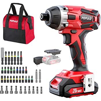 """20V Impact Driver with 40Pcs Kit, 1770 in-lbs Lithium Ion Cordless 1/4"""" Hex Impact, 0-2900RPM Variable Speed, Impact Ready, Tool Bag, Battery, Fast Charger. Populo CIDL-2003"""