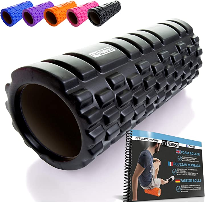 fit nation foam roller - rullo massaggiatore indeformabile per trigger point therapy - automassaggio muscolare 33 x 14 cm 2015-fn-frb-blk