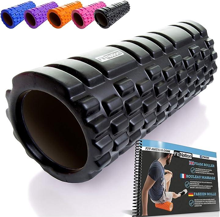 Foam roller - rullo massaggiatore indeformabile per trigger point therapy - automassaggio muscolare 33 x 14 cm 2015-FN-FRB-BLK