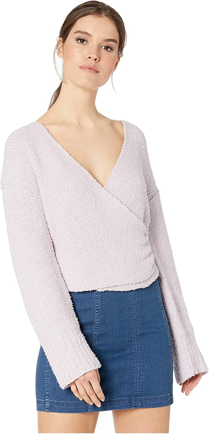 Free People Womens Faux Wrap Cropped Pullover Sweater