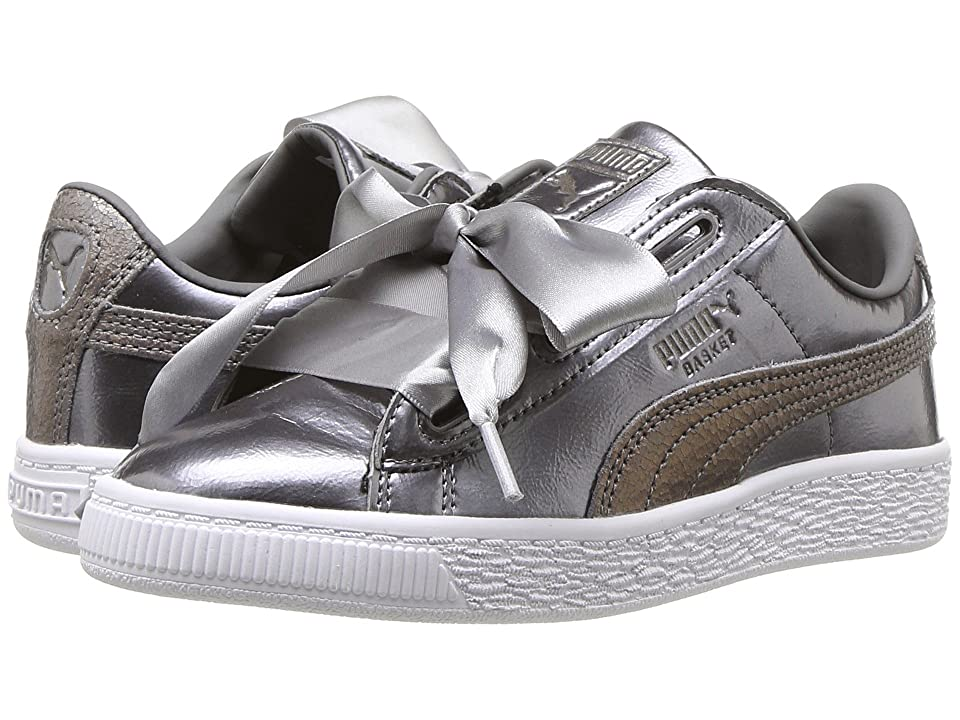 Puma Kids Basket Heart Lunar Lux PS (Little Kid/Big Kid) (Smoked Pearl) Girls Shoes
