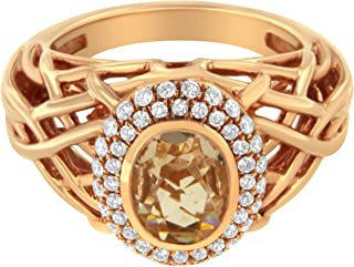 Antandre Womens 14K Rose Gold Morganite and 3/8ct TDW Diamond Cocktail Ring