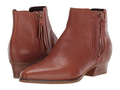 Cole Haan Hadlyn Bootie (CH British Tan Leather/Antique Nylon Zip/Dark Natural Raw Stack) Women