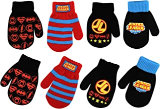 DC Comics Boys 4 Pack Mitten Set: Batman, Superman, Justice League (Age 2-4)