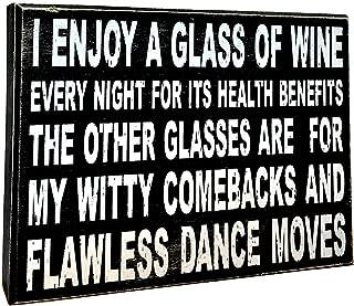 UNiQ Designs Wine Box Sign I Enjoy A Glass of Wine for ITS Desk Art-Funny Desk Decor Fun Office Decor Decorative Signs-Inspirational Signs-Best Friend Signs - Best Friends Motivational Signs 6 x 8