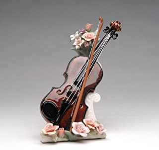 Cosmos Gifts Fine Porcelain Violin with Pink Roses Flowers Musical Figurine, Plays My Heart Will Go On Music Tune, 7-7/8