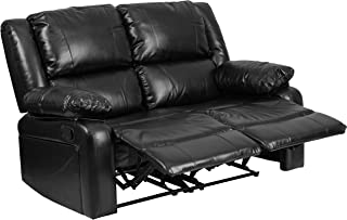 Flash Furniture Harmony Series Black Leather Loveseat with Two Built-In Recliners