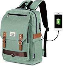 Vintage Laptop Backpack, Casual School College Backpack for Women for Men, Fits 15.6 Inch Notebook with USB Charging Port