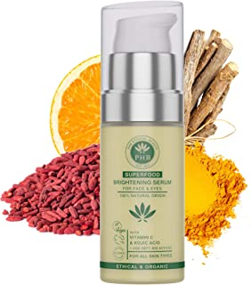 Eye and Face Vitamin C Serum with Hyaluronic Acid and Kojic Acid by PHB Ethical Beauty. A 2-IN-1 Eye Cream for Dark Circles and Puffiness. A Skin Firming Lotion and a Skin Lightening Cream. 30 ml