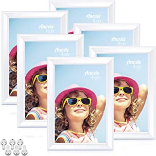 Anozie 4X6 Picture Frames(6 Pack,White) Simple Line Moulding Photo Frame Set with HD Real Glass for Tabletop or Wall Mount...
