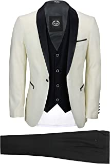 Mens 3 Piece Suit Tuxedo Ivory Cream Wedding Party Tailored Fit Black Shawl Lapel Dinner Jacket