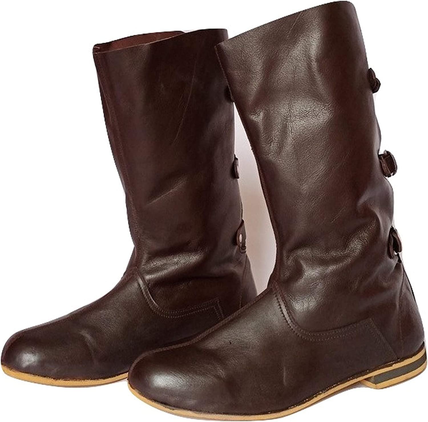 AnNafi Medieval Brown Tampa shopping Mall Leather Boots Inspi 3 Renaissance Buckle