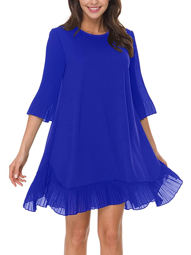 Women's Flowy Pleated Ruffle Bottom Short Dress with 3/4 Pleated Bell Slevee