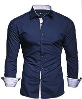 Kayhan Twoface + Python II Herren-Hemd Slim-Fit Langarm-Hemden Streifen S-6XL