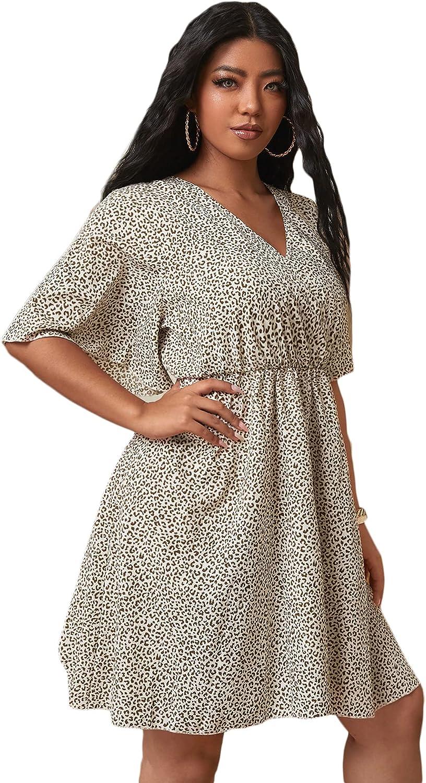 Floerns Women's Plus Size Casual V Neck Wrap Short Sleeve A Line Dress