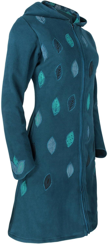 PUREWONDER Damen Fleecemantel mit Kapuze Übergangsjacke jk41 Blau