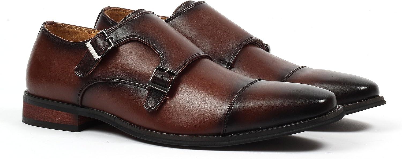 Santino Luciano Luca Men's Cap-Toe Monkstrap Dress shoes