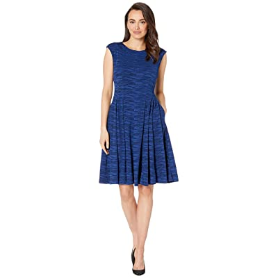 Gabby Skye Jacquard Knit Seam Down Fit N Flare (Bright Navy) Women