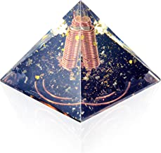 Re-Balancing Orgone Pyramid - Black Tourmaline Healing Crystals and Stones Pyramid - Gold Foil Copper Coil Soothes Panic Attacks Orgonite Pyramid - By Orgonite Crystal