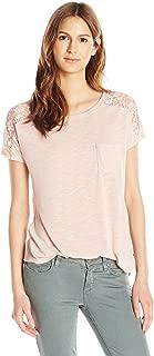 Paper + Tee Women's Short Sleeve Lace Trim Shoulder Top