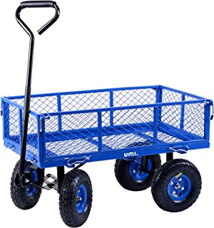 Umi. by Amazon- Lawn/Garden Utility Cart/Wagon Garden Heavy Duty Trolley With Removable Side Meshes, 182kg/400lbs, Blue