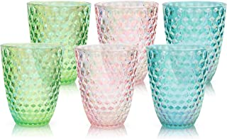 BELLAFORTE - Tritan Shatterproof Short Tumbler mixed colors with iridescent coating - 13oz, set of 6 Laguna Beach Drinking...