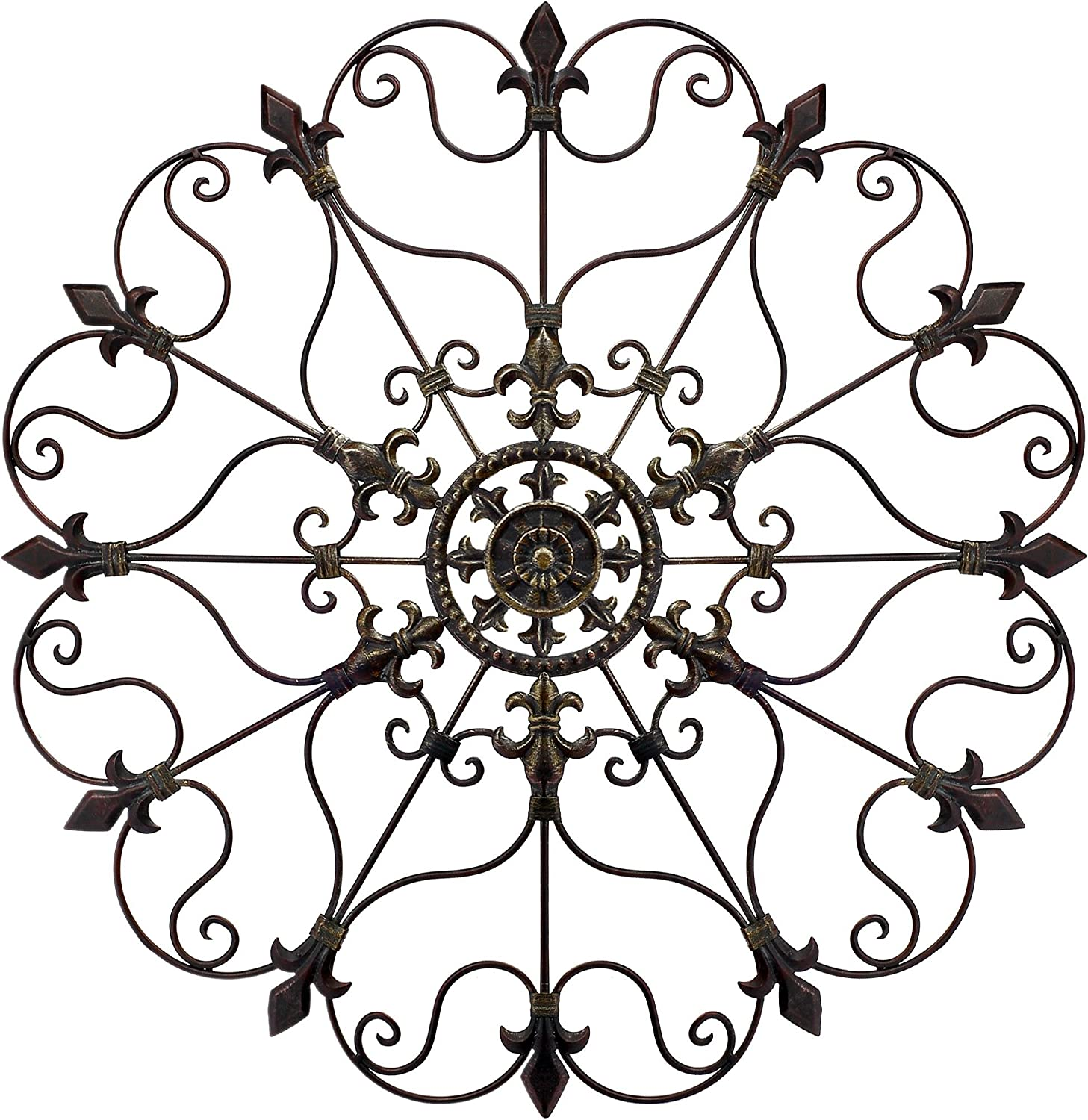 Yun&Lin Crafts YL Crafts - Metal Mounted Medallion Hand-painted Wall Decor 28 x28 , Large Metal Home Wall Art for Indoor and Outdoor Settings