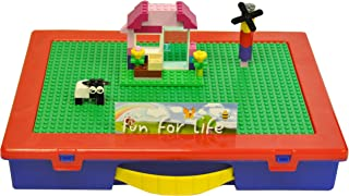 Lego-Compatible Fun For Life Organizer Case with Building Plate(Green / Blue)- Fun for Life is Pefect Lego Compatible Storage Case Fits up to Approx 1000 Lego Parts