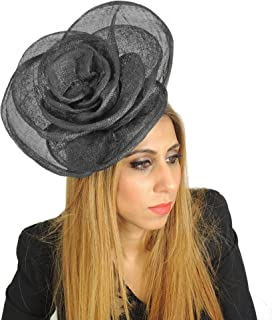 Large 10 Inch Cuban Rose Ascot Fascinator Hat - with Headband