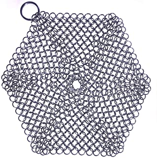 Cast Iron Cleaner, 316 Premium Stainless Steel Cast Iron Skillet, Chainmail Scrubber for Cast Iron Pan Pre-Seasoned Pan Du...