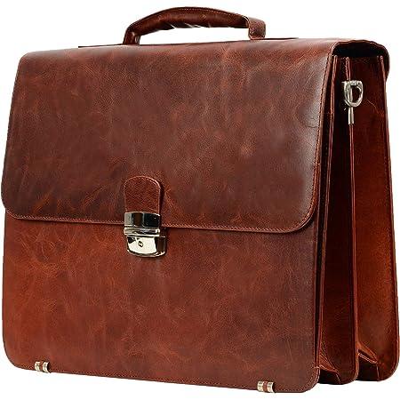 Feynst Leder Aktentasche Laptoptasche Ledertasche Notebooktasche Schultertasche Studenten Tasche Umhängetasche Uni Vintage A4 Herren Damen Braun Koffer Rucksäcke Taschen