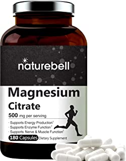 NatureBell Magnesium Citrate 500mg Per Serving,180 Capsules, Extra Strength Magnesium Supplement, Powerfully Supports Ener...