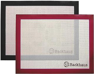 Backhaus ® Tapis de Cuisson Anti-Adhérent en Silicone et Fibre de Verre [Lot de 2], Feuille de Cuisson et Pâtisserie de St...